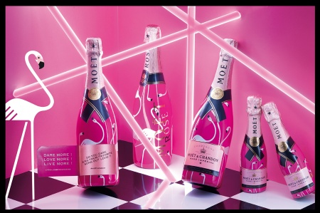 Moët Rosé Limited Edition with flamingos